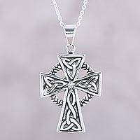 Sterling silver pendant necklace, 'Celtic Faith'