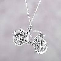 Sterling silver pendant necklace, 'Fun Ride'