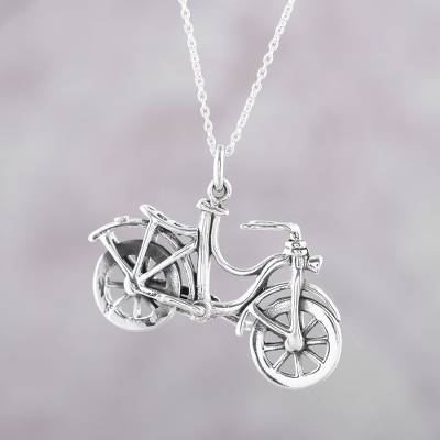 Sterling silver pendant necklace, 'Fun Ride' - Bicycle Sterling Silver Pendant Necklace from India