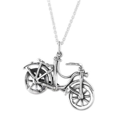 Sterling silver pendant necklace, 'Fun Ride' - Bicycle Sterling Silver Pendant Necklace from India