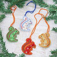 Wool felt ornaments, 'Squirrel Greetings' (set of 4) - Assorted Color Squirrel Ornaments in Wool Felt (Set of 4)