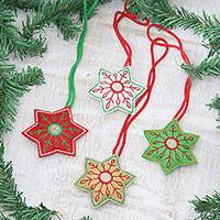 Wool felt ornaments, 'Festive Snowflakes' (set of 4) - Embroidered Wool Snowflake Ornaments from India (Set of 4)