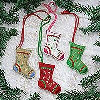 Wool felt ornaments, 'Christmas Charm' (set of 4) - Embroidered Wool Stocking Ornaments from India (Set of 4)