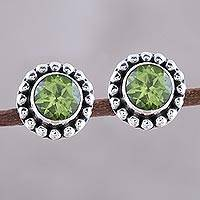 Peridot stud earrings, 'Glistening Dale' - Round Peridot and Sterling Silver Dot Motif Stud Earrings