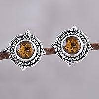 Citrine button earrings, 'Sparkling Beacon' - Round Citrine and Sterling Silver Rope Motif Button Earrings