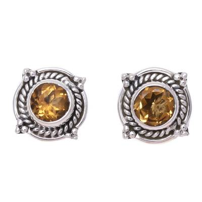 Round Citrine and Sterling Silver Rope Motif Button Earrings