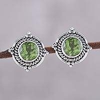 Peridot button earrings, 'Sparkling Beacon in Green' - Round Peridot and Sterling Silver Rope Motif Button Earrings
