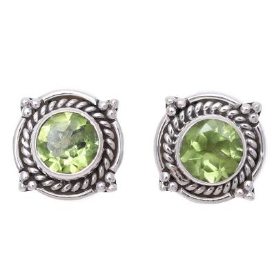 Round Peridot and Sterling Silver Rope Motif Button Earrings