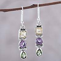 Multi-gemstone dangle earrings, 'Graceful Trio in Yellow' - Sterling Silver and Multi-gemstone Dangle Earrings