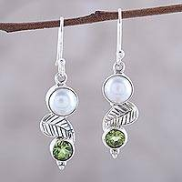 Cultured pearl and peridot dangle earrings, 'Moonrise Garden' - Cultured Pearl Peridot Sterling Silver Leaf Dangle Earrings