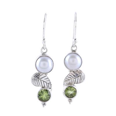 Cultured Pearl Peridot Sterling Silver Leaf Dangle Earrings
