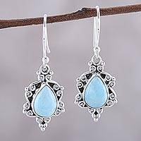 Larimar dangle earrings, 'Elegant Sky' - Larimar Teardrop and Sterling Silver Scrolls Dangle Earrings