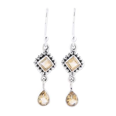 Multi-Shape Citrine and Sterling Silver Dangle Earrings