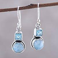 Larimar and blue topaz dangle earrings, 'Glittering Sky' - Larimar and Blue Topaz Sterling Silver Dangle Earrings