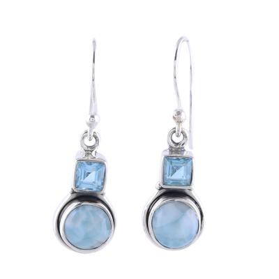 Larimar and Blue Topaz Sterling Silver Dangle Earrings