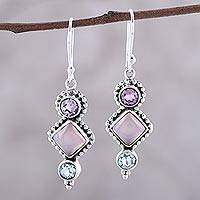 Multi-gemstone dangle earrings, 'Sky at Dawn' - Multi-Gemstone and Sterling Silver Dot Motif Dangle Earrings