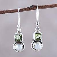 Cultured pearl and peridot dangle earrings, 'Moonglow Garden' - Cultured Pearl and Peridot Sterling Silver Dangle Earrings