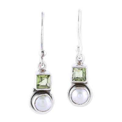 Cultured Pearl and Peridot Sterling Silver Dangle Earrings