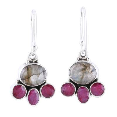 Labradorite and Pink Agate Sterling Silver Dangle Earrings