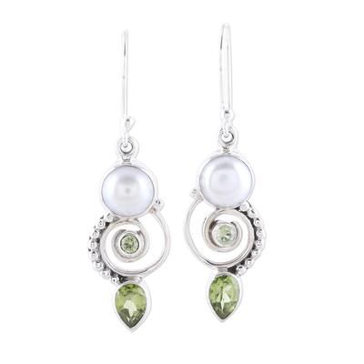 Cultured Pearl Peridot Sterling Silver Dangle Earrings