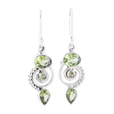 Peridot and Sterling Silver Spiral Dangle Earrings