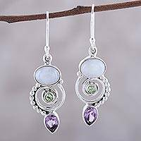 Multi-gemstone dangle earrings, 'Twilight Labyrinth' - Multi-Gemstone and Sterling Silver Spiral Dangle Earrings