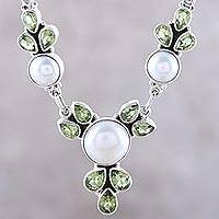 Cultured pearl and peridot pendant necklace, 'Full Moon Garden' - Cultured Pearl and Peridot Sterling Silver Pendant Necklace