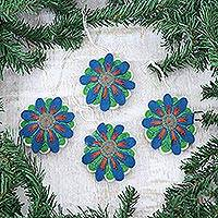 Wool felt ornaments, 'Flower Parade' (Set of 4)