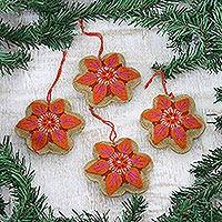 Wool felt ornaments, 'Marvelous Marigolds' (Set of 4) - Set of 4 Orange and Pink Flower Ornaments from India