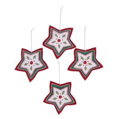 Wool felt ornaments, 'Folk Art Stars' (Set of 4) - Set of Four Wool Felt Star Ornaments from India