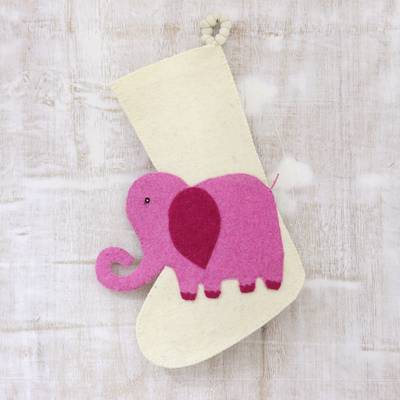 Wool felt stocking, 'Holiday Elephant in Pink' - Ivory and Pink Elephant Christmas Stocking from India