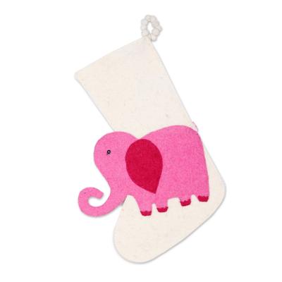 Wool felt stocking, 'Holiday Elephant in Pink' - Ivory and Pink Elephant Christmas Stocking from India