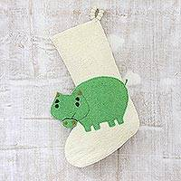 Wool felt stocking, 'Hippo Holiday' - Hippo Themed Wool Felt Christmas Stocking
