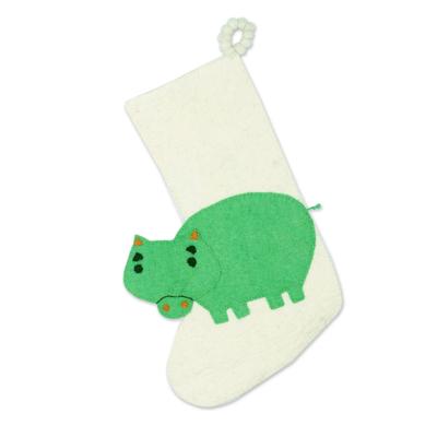 Wool felt stocking, 'Hippo Holiday' - Hippo Themed Wool Felt Christmas Stocking