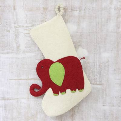 Wool felt stocking, 'Holiday Elephant in Red' - Red Green and Ivory Elephant Theme Stocking