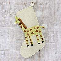 Wool felt stocking, 'Giraffe Holiday' - Applique Christmas Stocking with Giraffe