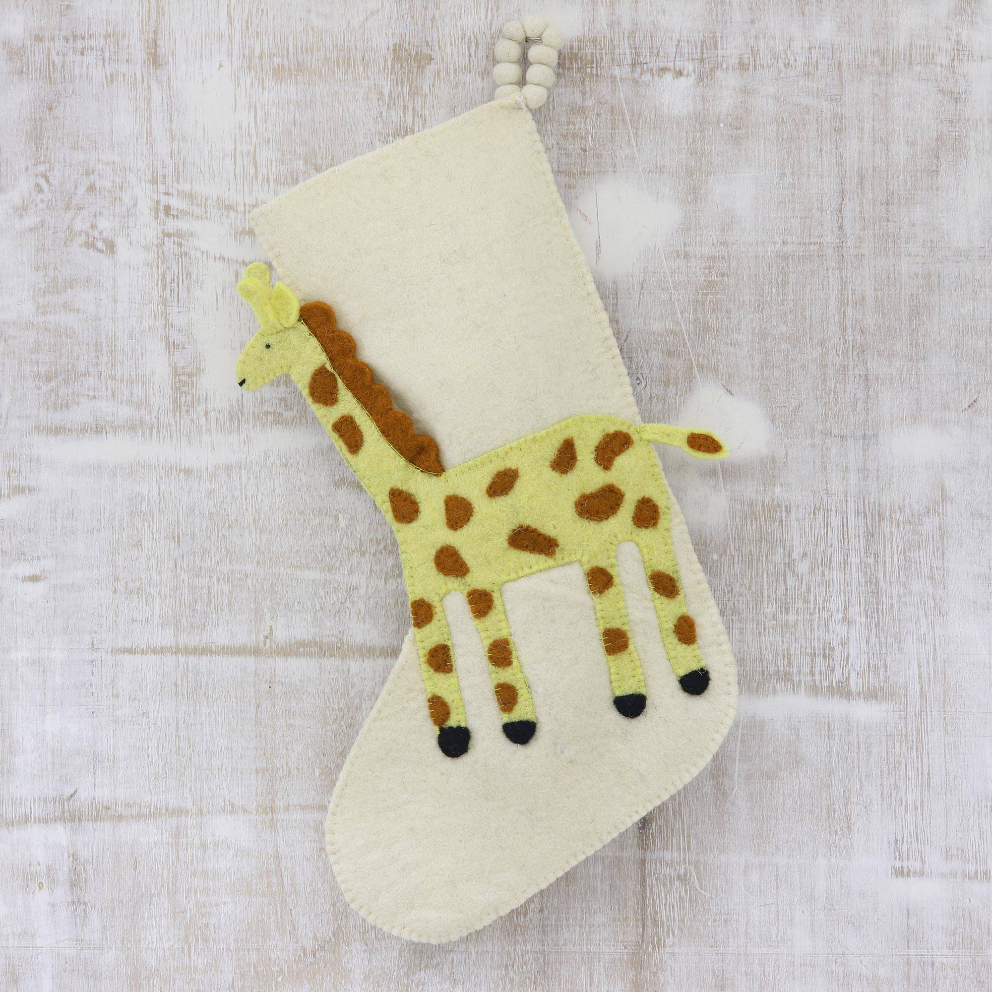 Applique Christmas Stocking With Giraffe Giraffe Holiday Novica