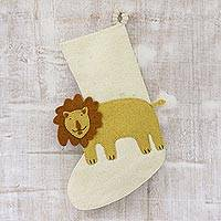Wool felt stocking, 'Holiday Lion' - Lion Motif Applique Wool Felt Christmas Stocking