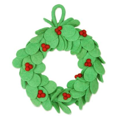 Wool felt wreath, 'Holiday Celebration' - Wool Felt Holiday Wreath Handmade in India