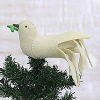 Wool felt tree topper, 'Message of Peace' - Wool Felt Ivory Dove Tree Topper from India