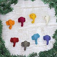 Wool felt ornaments, 'Elephant Cheer' (set of 8) - Set of 8 Assorted Wool Felt Elephant Ornaments