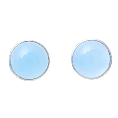 Chalcedony Stud Earrings in Blue from India