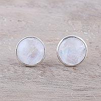 Rainbow moonstone stud earrings,