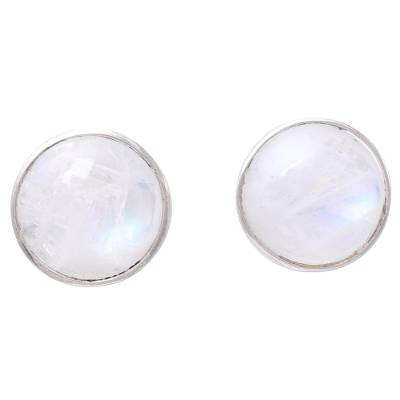 Natural Rainbow Moonstone Stud Earrings from India