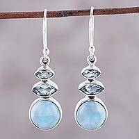 Larimar and blue topaz dangle earrings, 'Peaceful Dazzle' - Larimar and Blue Topaz Dangle Earrings from India