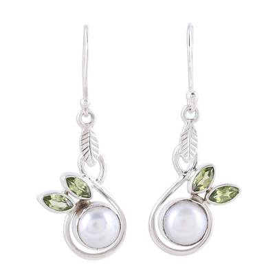 Cultured Pearl and Faceted Peridot Dangle Earrings