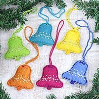 Wool felt ornaments, 'Fascinating Bells' (set of 6) - Assorted Wool Felt Bell Ornaments from India (Set of 6)