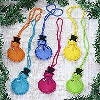 Wool felt ornaments, 'Colorful Snowmen' (set of 6) - Assorted Wool Snowman Ornaments from India (Set of 6)