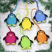 Wool felt ornaments, 'Fascinating Penguins' (set of 6) - Assorted Wool Penguin Ornaments from India (Set of 6)