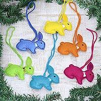 Wool ornaments, 'Colorful Bunnies' (set of 6) - Assorted Wool Rabbit Ornaments from India (Set of 6)